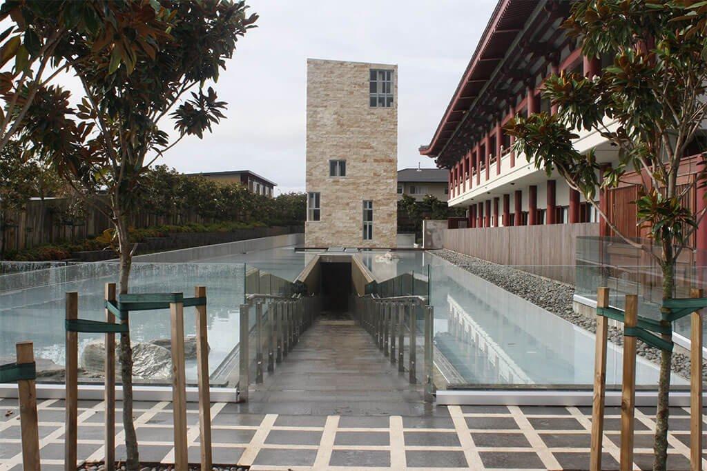 Buddhist temple rooftop pool waterproofing